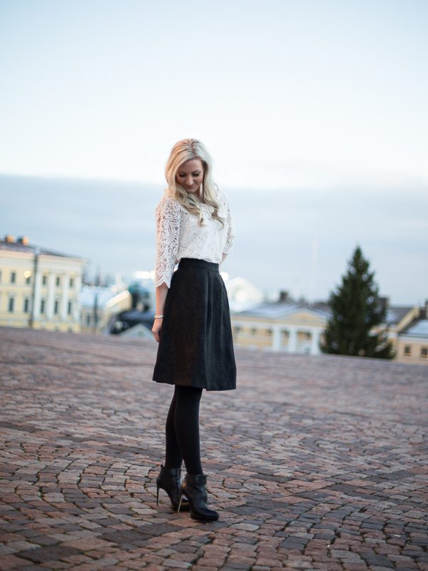 Christmas Eve outfit with lace and jacquard skirt
