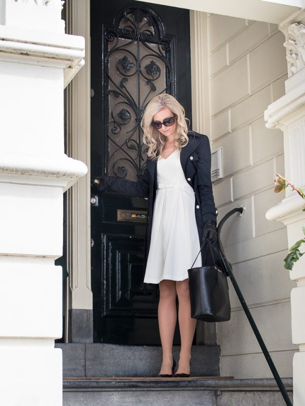 Outfit in navy trench and white dress