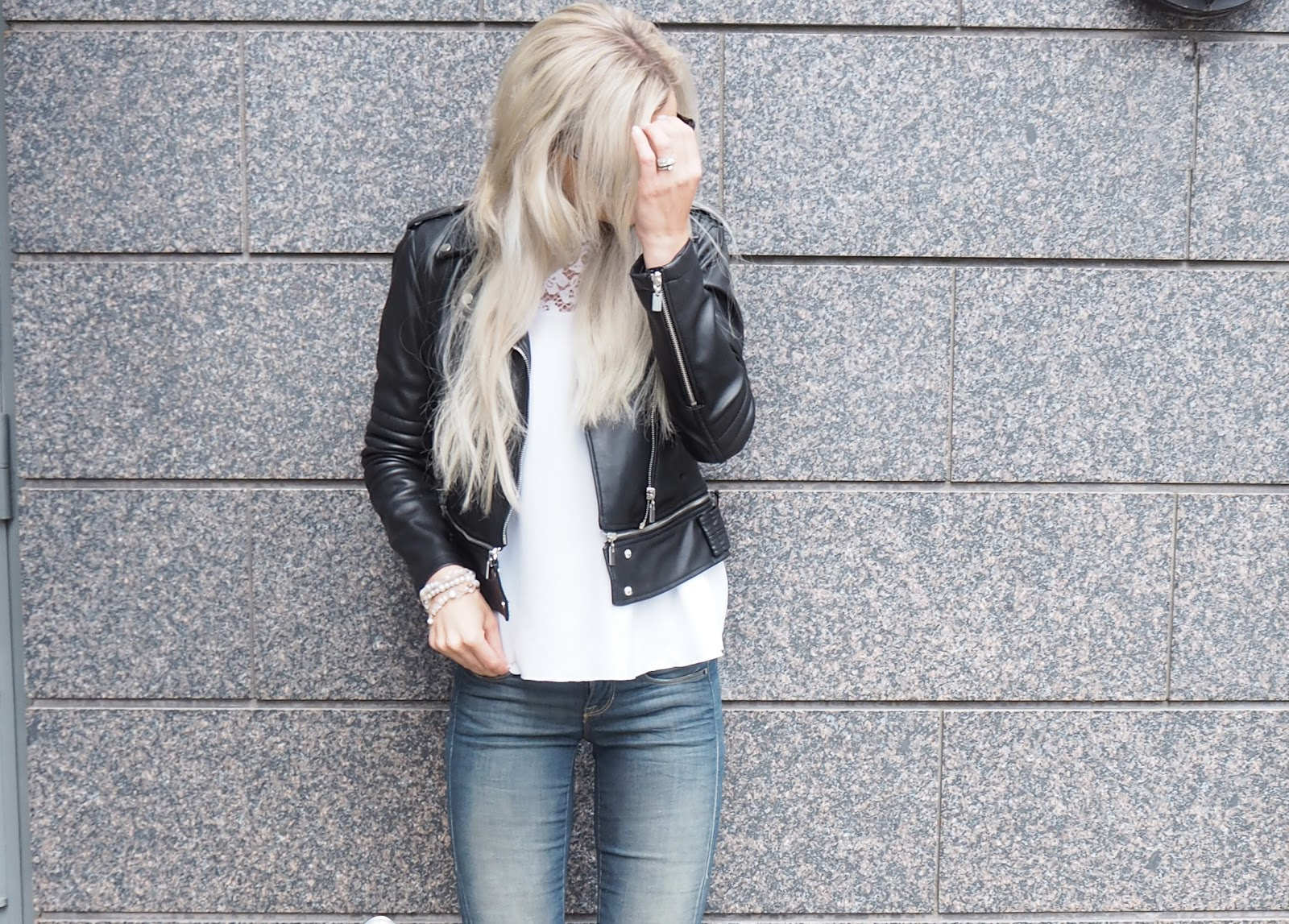 Biker jacket and lace outfit